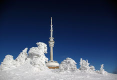 The broadcast tower and watch over Praded. In mountain Jeseniky in the Czech Republic. 1491 meter over sea Stock Photo