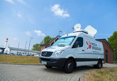 Broadcast Tv Car On Open Day Presentation In Naval Base Stock Photos
