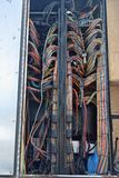 Broadcast wiring in Remote production trucks royalty free stock image