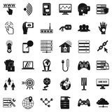 Broadcaster icons set, simple style. Broadcaster icons set. Simple set of 36 broadcaster vector icons for web isolated on white background Stock Images