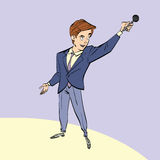 Broadcaster, journalist or singer with microphone Royalty Free Stock Photography