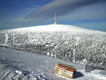 Broadcaster on mountain. Winter broadcaster on one czech mountain royalty free stock photos