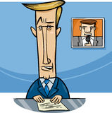 Broadcaster on television cartoon Royalty Free Stock Photo