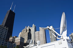 Broadcasting from downtown Chicago Stock Photo