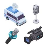 Broadcasting equipment. Television stream electronics, telecommunications 3d isometric vector elements royalty free illustration
