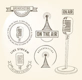 Broadcasting hand drawn elements Stock Image