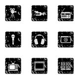 Broadcasting icons set, grunge style Royalty Free Stock Photo