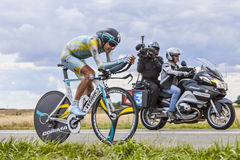 Broadcasting Le Tour de France. Beaurouvre,France,July 21st 2012:The Slovenian cyclist Janez Brajkovic from Team Astana pedaling during the 19th stage of Le Tour Stock Photo