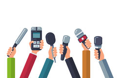 Broadcasting, media tv, interview, press and news vector background with hands holding microphones. Dictaphone and mic for reportage news illustration Stock Image