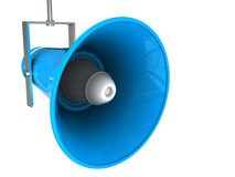 Broadcasting megaphone. 3d illustration of blue megaphone isolated over white background Stock Photos