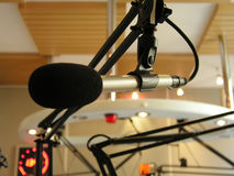 Broadcasting microphone. Shot at the radio station royalty free stock photography
