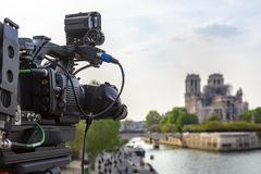 Broadcasting About Notre Dame Cathedral in Paris royalty free stock photography