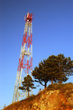 Broadcasting pole. Wireless mobile network transmission pole Stock Image