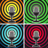Broadcasting posters. Retro microphone on the background of divergent waves. Vector set vector illustration