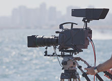 Broadcasting and Recording. With Digital Camera Royalty Free Stock Image