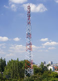 Broadcasting Tower. A telecommunications tower for broadcasting in a city Royalty Free Stock Photo