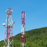 Broadcasting towers In mountains Royalty Free Stock Photo