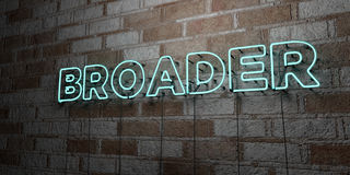 BROADER - Glowing Neon Sign on stonework wall - 3D rendered royalty free stock illustration Stock Photo