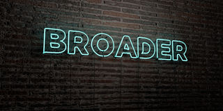 BROADER -Realistic Neon Sign on Brick Wall background - 3D rendered royalty free stock image Royalty Free Stock Photos