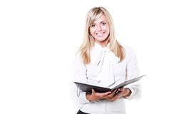Broadly smiling businesswoman Stock Images
