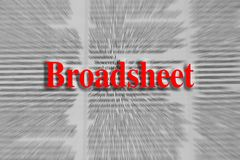 Broadsheet written in red with a newspaper article blurred in th royalty free stock photos