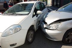 Broadside collision. In urban traffic stock images