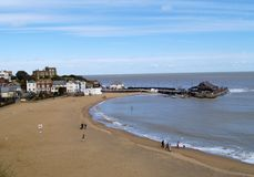 Broadstairs, English Beach. Broadstairs Beach in the UK - English coastal town famous for its association with Charles Dickens.  Bleak House is on the Cliff top Royalty Free Stock Photography
