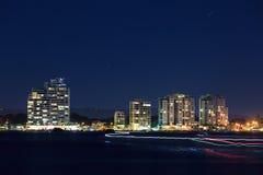 Broadwater bij nacht Stock Foto