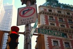 broadway符号街道 库存图片