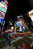 Broadway. Yellow cabs and crowd at night on Broadway, New York stock photography