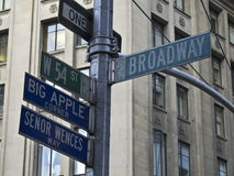 Broadway. Street sign of the Broadway in New York City stock photos