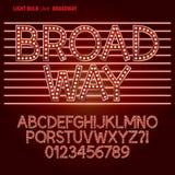Κόκκινα αλφάβητο λαμπών φωτός Broadway και διάνυσμα ψηφίων Στοκ εικόνα με δικαίωμα ελεύθερης χρήσης