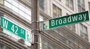 Broadway and 42nd Street. Street signs for Broadway and 42nd street in New York City royalty free stock photo
