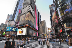Broadway and 42nd Street Intersection. The intersection of broadway and 42nd street in New York City Stock Image