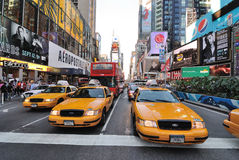 Broadway and 42nd Street Intersection. Yellow crown victoria cabs on Broadway in Times Square, New York City. Sept 4, 2010 Stock Photos