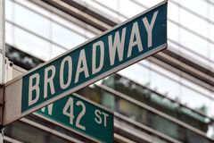 Broadway 42nd street sign. Street sign on the corner of Broadway and 42nd Street in Manhattan, New York City stock photos