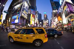Broadway. Image of taxi on broadway at sunset royalty free stock image