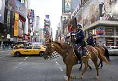 Broadway. Image of the police officers on horses , Broadway, New York city stock photography