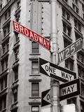 Broadway. Red broadway sign in a black and white photo of new york city signs Royalty Free Stock Photos