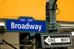 Broadway Avenue. Sign in midtown Manhattan, NYC royalty free stock photography