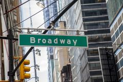 Broadway avenue street sign and office buildings, New York City stock photo