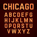 Broadway beleuchtet Glühlampealphabet der Art stock abbildung