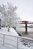 Broadway Bridge and Deep Snow Royalty Free Stock Image