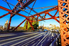 The Broadway bridge in downtown Portland, OR Royalty Free Stock Photos