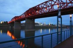 Broadway bridge at dusk. royalty free stock photos