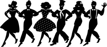 Broadway chorus line silhouette. A chorus line of male and female performers dressed in vintage fashion dancing a routine in a classic musical theater, EPS 8 Stock Photo