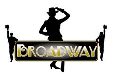 Broadway concept background. Broadway concept with principle female dancer tipping her hat Royalty Free Stock Image