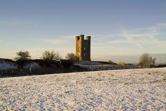 broadway cotswolds英国塔英国冬天 库存图片