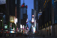Broadway at dusk shows neon lights, New York, USA Royalty Free Stock Photos