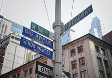Broadway en W 54 St. voorzien van wegwijzers Stock Foto